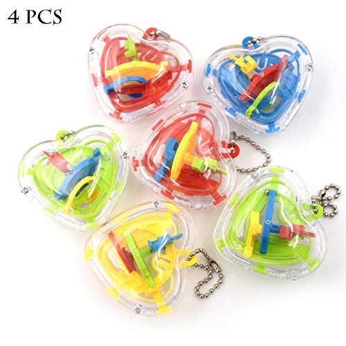 Mini Maze Ball, 4 PCS Puzzle Education Toy Stereoscopic Labyrinth Ball Addictive Maze Ball