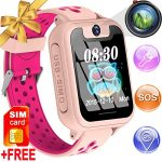 [SIM Card Include] Kids Smart Watch Phone GPS Tracker for Age 3-12 Boy Girl Touchscreen Smartwatch Call SOS Camera Game Sport Cellphone Wristwatch Electronic Learning Toy Back to School Birthday Gifts