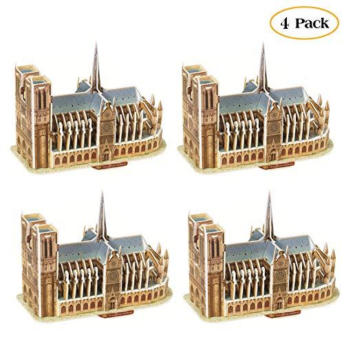 Eforoutdoor 4 Pack Puzzle Notre Dame de Paris Model, Notre Dame De Paris Puzzle 3D Puzzle Architectural Model Souvenir Notre-Dame Cathedral De Paris France