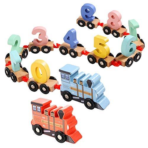 EFOSHM Wooden Train Toy Set 12pcs-Train Cars Digital Toy Set-Toy Train Sets for Kids Toddler Boys and Girls