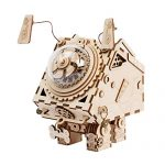 ROBOTIME 3D Laser Cut Wooden Puzzle Music Box Kit Robot Dog Seymour DIY Puzzle Toy with A Cute Song