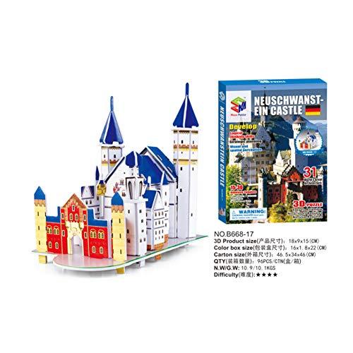 DishyKooker 3D Architectural Puzzle Kids Educational Toy Neuschwanstein Castle
