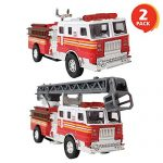 ArtCreativity 5.5 Inch Die Cast Fire Trucks - Set of 2 - Pull Back Firetruck Toy Cars for Boys and Girls - Includes Metal Ladder Truck and Fire Engine - Best Birthday Gift for Kids, Toddlers