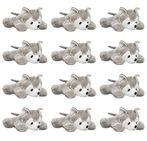 Wildlife Tree (12 Pack) Wolf Husky Mini 4 Inch Small Stuffed Animals, Bulk