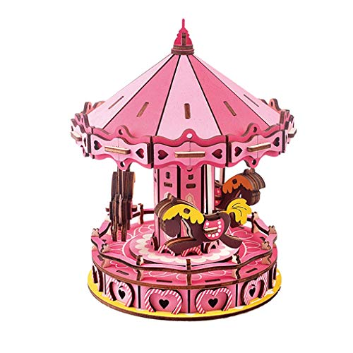 GLOOPE 3D Puzzle - 177 Carousel Wooden Puzzle Suitable for Educational Kids Toys, Decoration