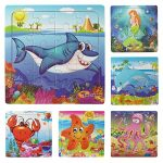 Muxihosn Wooden Jigsaw Puzzles with Storage Tray Ocean Set Kids Toys Preschool Learning Game for 3-5 Years Old Child,Boys,Girls,Pack of 6(Mermaid,Octopus,Shark,Starfish,Dolphin,Lobster)