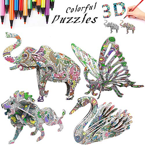 3D Coloring Painting Puzzles Set (4 Pack)-DIY Arts and Crafts for Girls & Boys-Perfect Creativity Kit & Ideal Kids and Adults Gifts! -STEM Educational Assembly Toys
