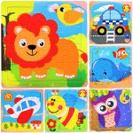 Kids Puzzles Toys for Age 2 3 4 5, Wooden Animals & Vehicle Educational Puzzle for Toddler, Bright Printed Lion Whale Owl Bee Plane Car Set 16 Pieces Preschool Children Puzzles Learning Toy (6 Pack)