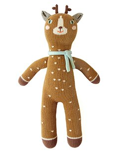 Blabla Jasper The Deer Plush Doll - Knit Stuffed Animal for Kids. Cute, Cuddly & Soft Cotton Toy. Perfect, Forever Cherished. Eco-Friendly. Certified Safe & Non-Toxic.
