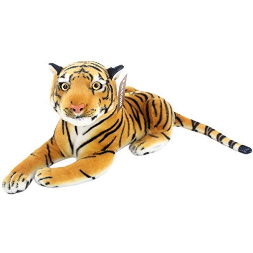 JESONN Realistic Stuffed Animals Soft Plush Toy Tiger Beige for Kids Birthday Gifts,13.5
