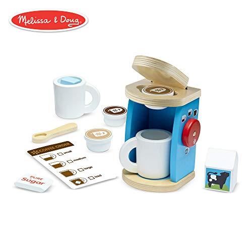 Melissa & Doug Brew & Serve Wooden Coffee Maker Set (Play Kitchen Accessories, Encourages Imaginative Play, 12 Pieces, 25.4 cm H x 33.02 cm W x 10.16 cm L)