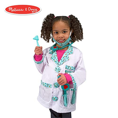 Melissa & Doug Doctor Role-Play Costume Set (Pretend Play, Materials, Machine Washable, 17.5″ H × 24″ W × 0.75″ L)