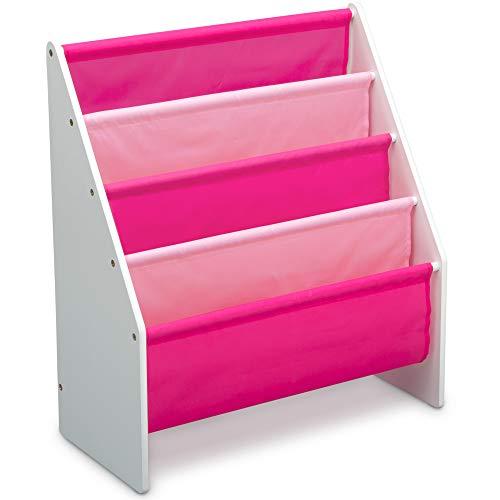 Delta Children Sling Book Rack Bookshelf for Kids, White/Pink
