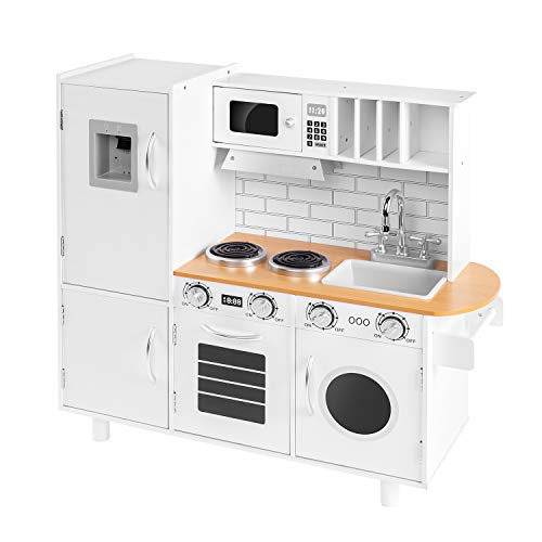 Albott Play Kitchen, Kids Modern Wooden Pretend Play KitchenSet Toy with Realistic Refrigerator, Ice Maker, Microwave, Oven, Range Hood and Dishwasher, White