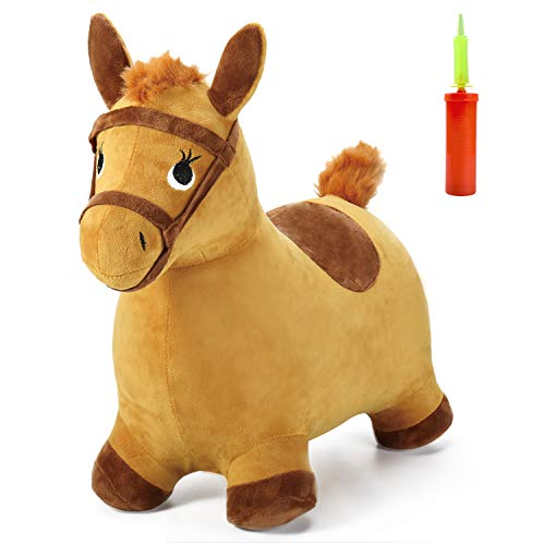 iPlay, iLearn Yellow Hopping Horse, Outdoors Ride On Bouncy Animal Play Toys, Inflatable Hopper Plush Covered with Pump, Activities Gift for 2, 3, 4, 5 Year Old Kids Toddlers Boys Girls