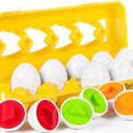 BleuZoo Matching Eggs Set - Preschool Montessori Learning Toys for Toddlers Baby | Color Shapes Sorting & Matching - 12 Eggs & Carton