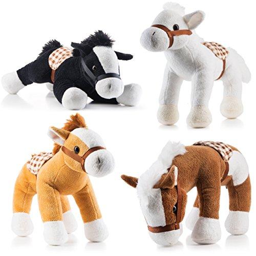 Prextex Jumbo 10'' Tall Plush Horses Stuffed Animal Horses 4 Pack