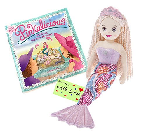 Girls Mermaid Doll Shelly Blonde Hair Rainbow Tail w/Pinkalicious and Aqua, The Mini-Mermaid Book w/ Stickers & Gift Tag