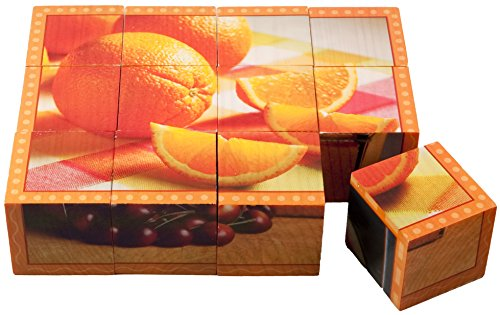 Stages Learning Real Picture Fruits Wooden Cube Language Builder Preschool Puzzle (12 Piece), Orange