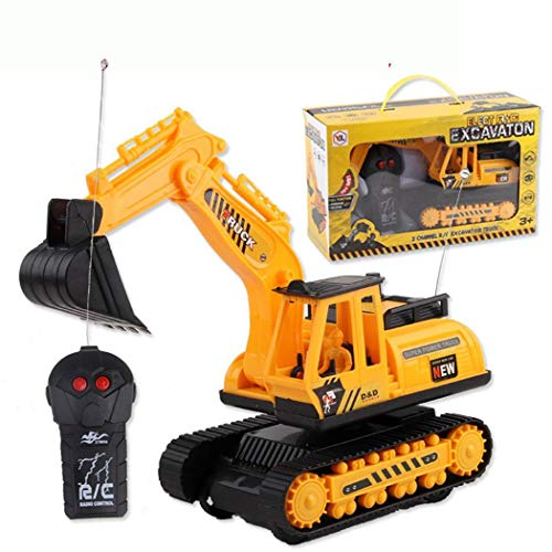 Halffle Car Excavator Kids Toy Crawler Digger Electric 2 Channel Remote Control Activity Play Centers