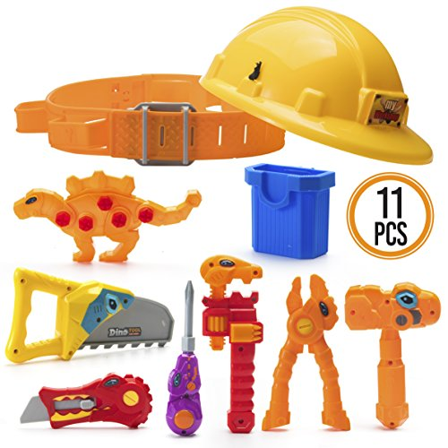 Prextex Dinosaur Themed Kids Tool Belt with Adjustable Children's Carpentry Construction Yellow Hard Hat Dinosaur Toys