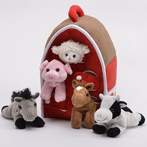 Plush Farm House with Animals- Five (5) Stuffed Farm Animals (Horse, Lamb, Cow, Pig, Grey Horse) in Play Farm House