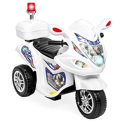 Best Choice Products Kids 6V Electric Ride-On 3-Wheel Police Motorcycle, White