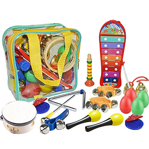 Kids Musical Instruments, Toddler Toys - UBTOY 10 Types 16 Pcs Percussion Instruments for Kids Preschool Learning Toys Toddlers Musical Toys with Carrying Bag.