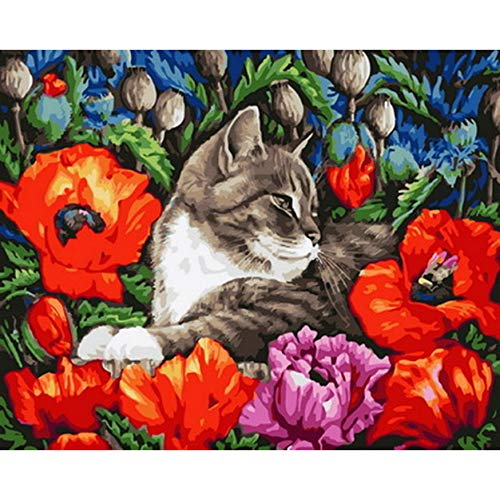 Jigsaw Puzzle 1000 Pieces Adult Puzzle Wooden Puzzle Classic 3D Puzzle DIY Animal Kitty with Flower DIY Collectibles Modern Home Decoration 75X50Cm