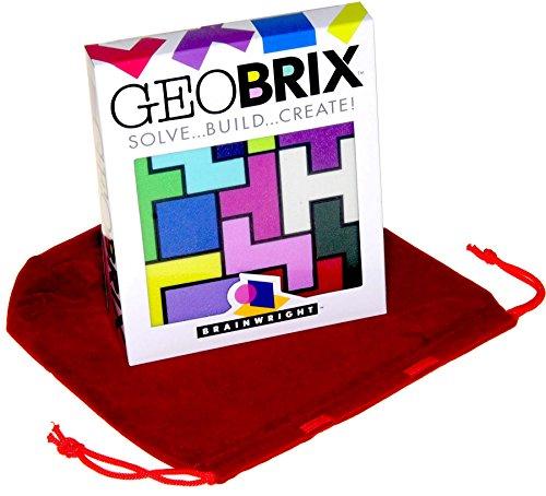 GeoBRIX Solve, Build, Create 3D Puzzle Bonus Red Velvet Drawstring Storage Pouch Bundled Items