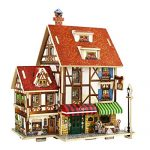 HMANE World Style 3D DIY Assembly Wooden Puzzle House Game Miniature Architectural Model Educational Toy (French Coffee Shop Shape)