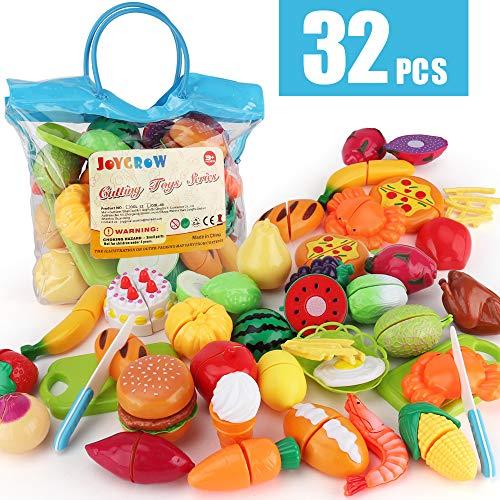 JoyGrow 32PCS Cutting Toys Pretend Food Fruits Vegetable Playset Educational Learning Toy Kitchen Play Boy Girl Kid with Handbag Packing (Blue)