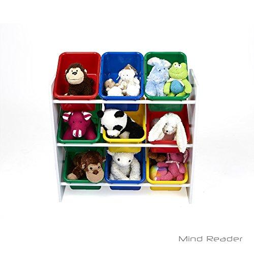 Mind Reader Toy Storage Organizer with 9 Storage Bins, Kids Storage for Bedroom, White