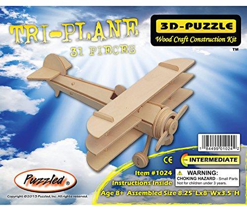Puzzled Tri-Plane Wooden 3D Puzzle Construction Kit