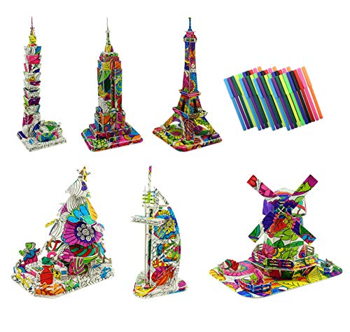 3D Coloring Puzzle Set, 6 DIY Models with 40 Markers Including Eiffel Tower, Empire State Building, Christmas Tree, Etc.