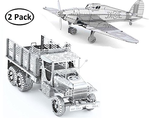 3D Metal Puzzle Models Of Military Truck, Hawker Hurricane Warplane - DIY Toy Metal Sheets Assembling Puzzle, 3D puzzle - 2 Pack