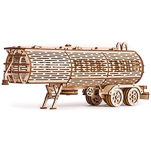 Wood Trick Fuel Tank Trailer Addition for Big Rig Truck, Petrol Trailer for Semi Truck - 3D Wooden Puzzle, ECO Wooden Toys, Best DIY Toy - STEM Toys for Boys and Girls
