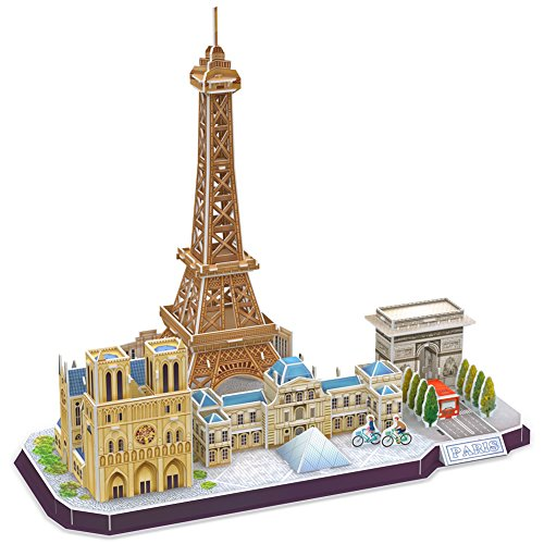 CubicFun 3D French Puzzle of Paris Cityline Architecture Building Model Kits Collection Toys for Adults and Child, MC254h