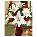 Jigsaw Puzzle 1000 Pieces Adult Puzzle Wooden Puzzle Classic 3D Puzzle Lily Red Vase Flower DIY Collectibles Modern Home Decoration,75X50Cm