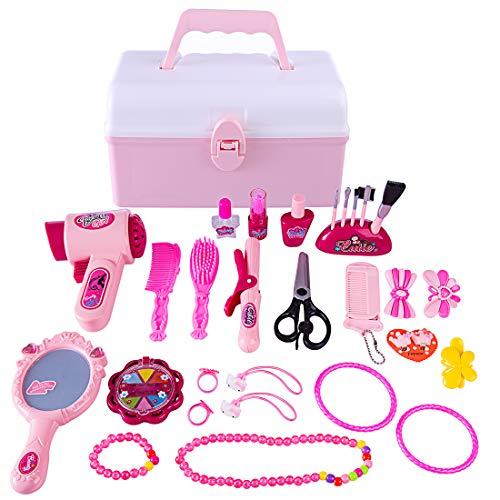 Petforu 31pcs Hairdressing Cosmetics Dress Up Pretend Play Sets for Kids