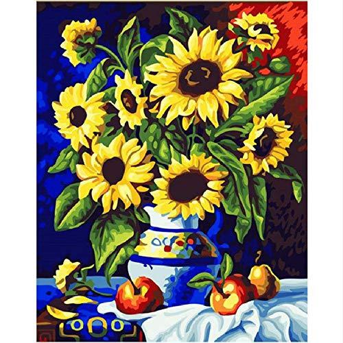 Jigsaw Puzzle 1000 Piece for Adults Puzzle 3D Wooden Classic Puzzle Sunflower Vase Flower for Children DIY Home Decor 75X50Cm