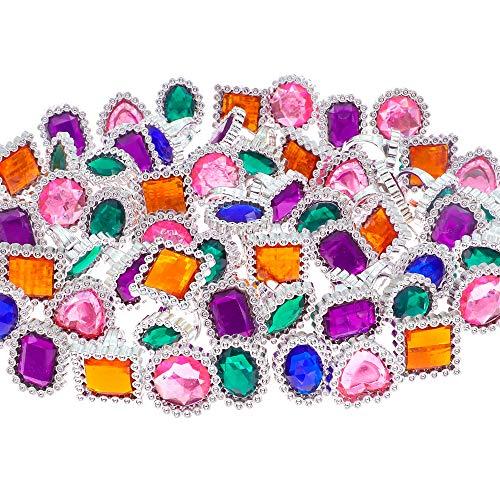 YIQIHAI 180pcs Plastic Colorful Rhinestone Rings, Kid's Gem Rings for Bridal Shower Game, Pirate Treasure, Mermaids and Birthday Parties