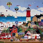 DDTOP 1000 Piece 30''x20'' Size Wooden Jigsaw Puzzle Bunting Lighthouse Wheel Boat Balloon Kite Happy Town Americana Jane Wooster Scott Carnival Merriment Coastal Lighthouse Wooden Puzzle