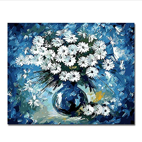 Jigsaw Puzzle 1000 Piece for Adults Puzzle 3D Wooden Classic Puzzle Blue Flowers Vase with DIY Educational Puzzle Christmas Home Decor Gift 75x50cm