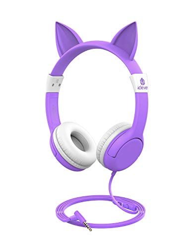 [Upgrade] iClever Boostcare Kids Headphones Girls - Cat Ear Hello Kitty Wired Headphones for Kids with MIC, Adjustable 85/94dB Volume Control - Toddler Headphones on Ear for Kindle Tablet, Purple
