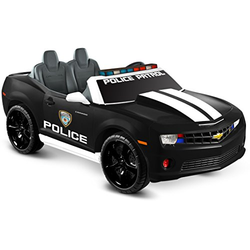 Kid Motorz Chevrolet Racing Camaro Police Edition Two Seater 12V Electric Ride On with Realistic Emergency Lights, sirens & MP3 Line-In Jack Battery Powered Riding Toy Ride On