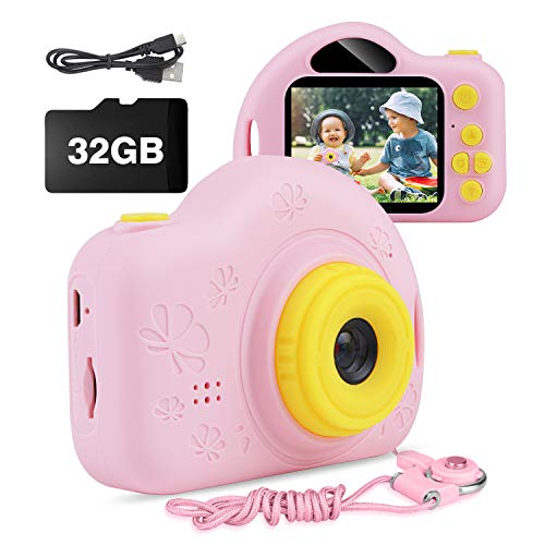 Kids Camera, AIMASON Digital Video Camera Gift for Age 3 4 5 6 7 8 9 10 Year Old Girls, Mini Rechargeable and Shockproof Camera Creative DIYCamcorder for Little Girl with 32GB SD Card (Pink)