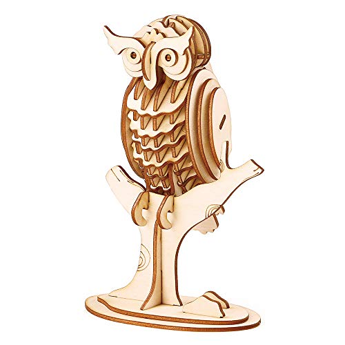 Rolife Build Your Own 3D Wooden Assembly Puzzle Wood Craft Kit Owl Model, Gifts for Kids and Adults