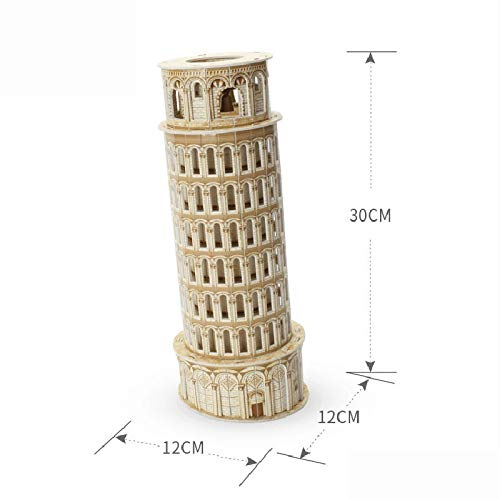 EXTR ANT 3D Stereo Wooden Puzzle Children's Educational Toys Handmade Puzzle Cabin Italy Pisa Leaning Tower Model
