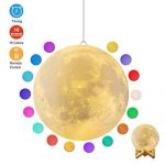 Moon Lamp, GDPETS 3D Printing 7.3 Inch 16 Colors Moon Light with Stand & Remote &Touch Control and USB Rechargeable Decorative Luna Lamp for Baby Kids Birthday Party Christmas Gifts